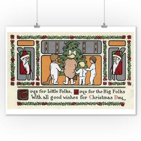 Christmas Greeting - Folk Art Christmas Scene (9x12 Art Print, Wall Decor Travel Poster) Scene Folk Art