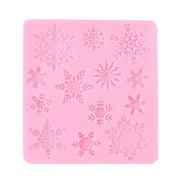 Pink XMAS Snowflake Silicone Fondant Cake Mold Chocolate Decoration Tool