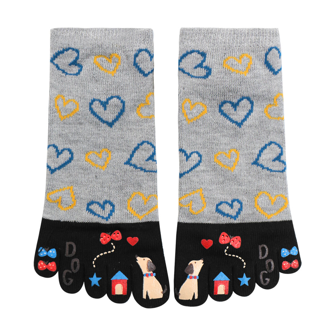 Tasharina Women's Heart Cartoon Pattern Elastic Cuffs Stretchy Toe Socks Gray