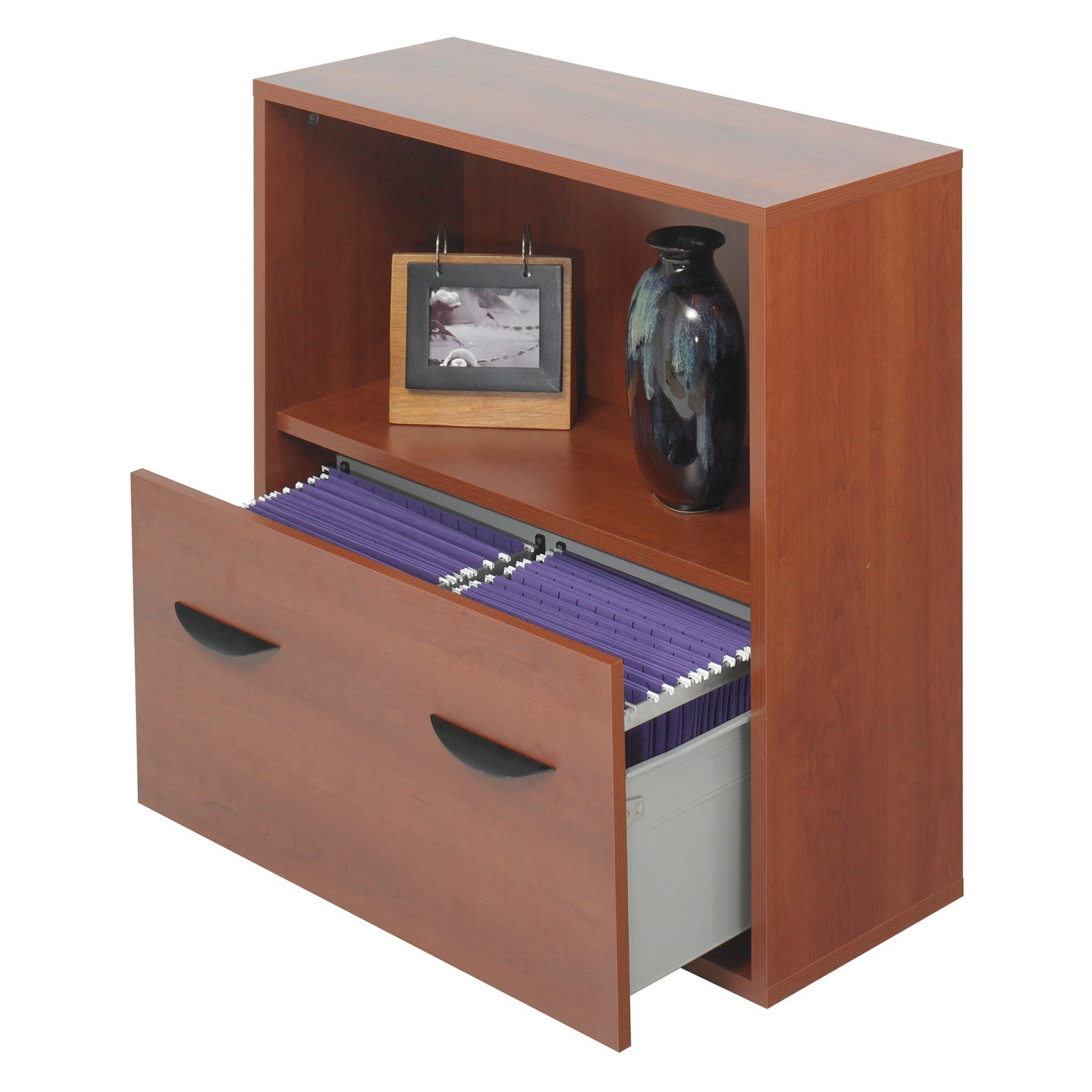 Safco Lateral Filing Cabinet With Bookshelf   Cherry   Walmart.com