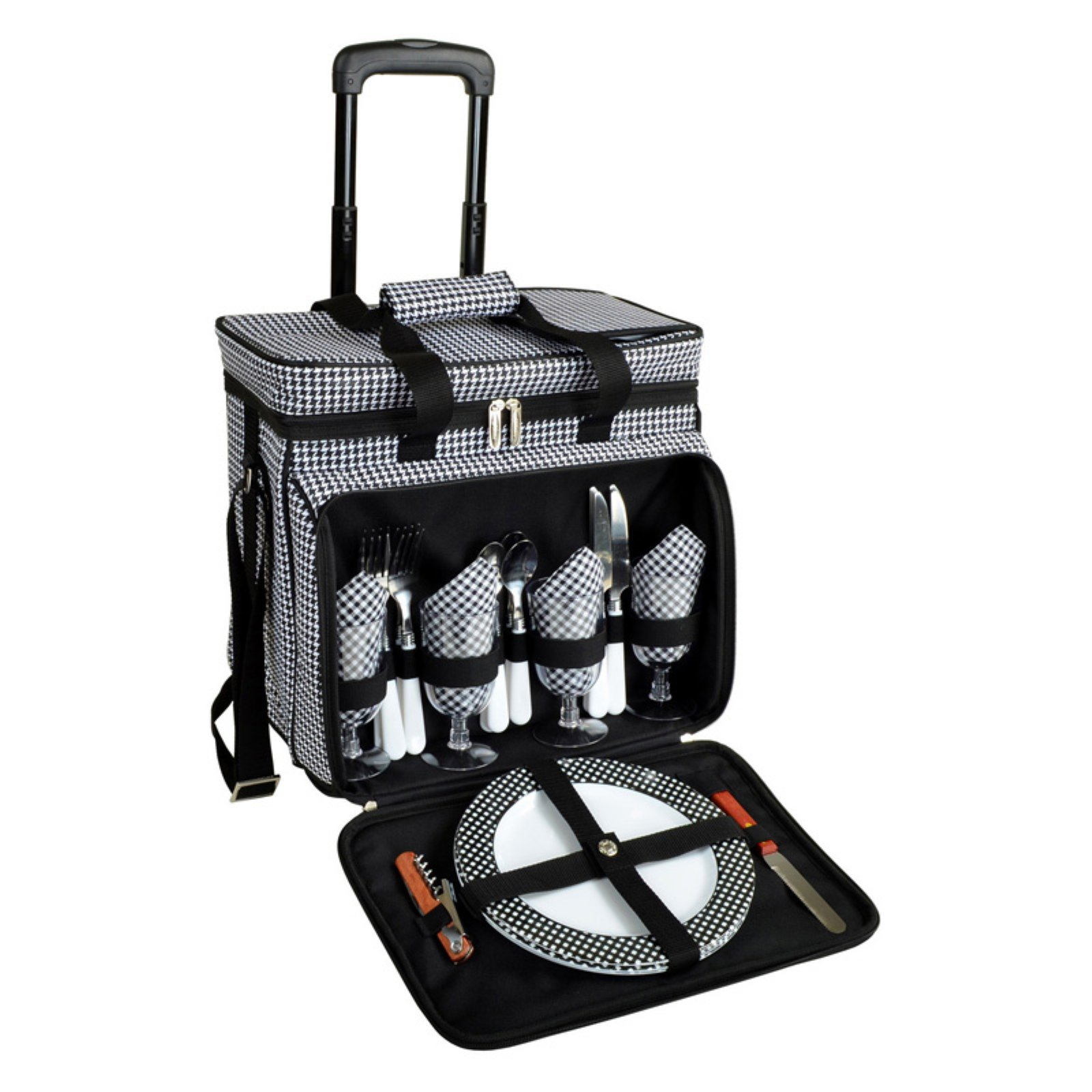 Picnic At Ascot Houndstooth Picnic Wheeled Cooler for Four
