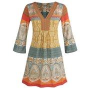 Women's Tunic Top - Marrakesh Orange, Yellow, And Blue Paisley Shirt