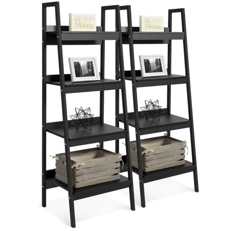 Best Choice Products Modern Wooden Ladder Bookcase (Set of (Commercial Wooden Walnut Ladder)