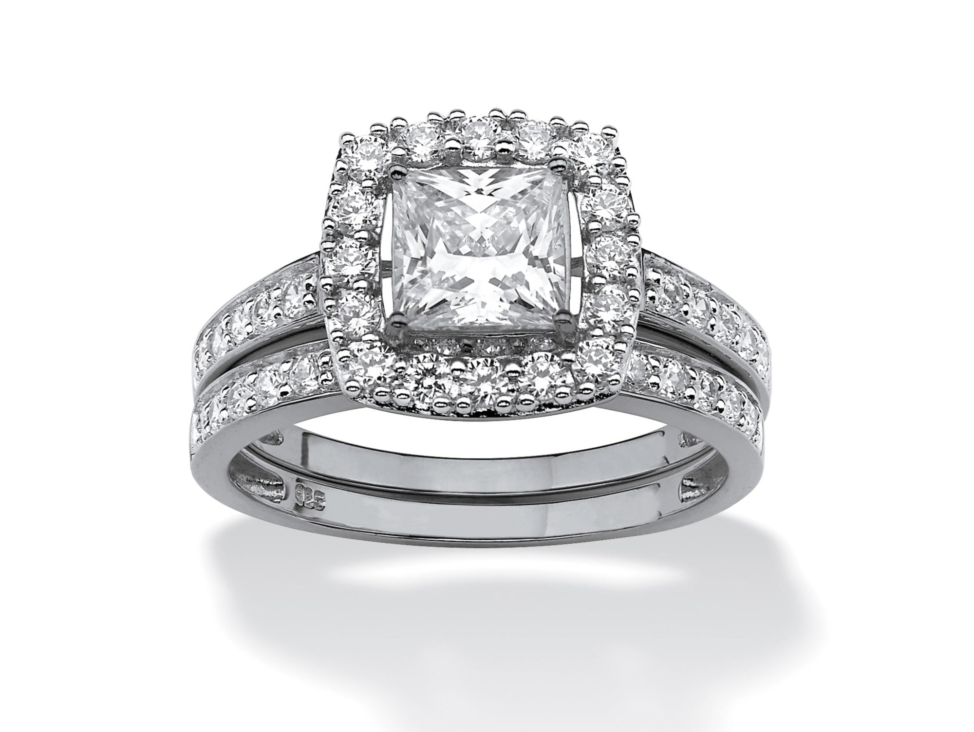 1.93 TCW Princess-Cut Cubic Zirconia Two-Piece Bridal Set in Platinum over Sterling Silver by PalmBeach Jewelry