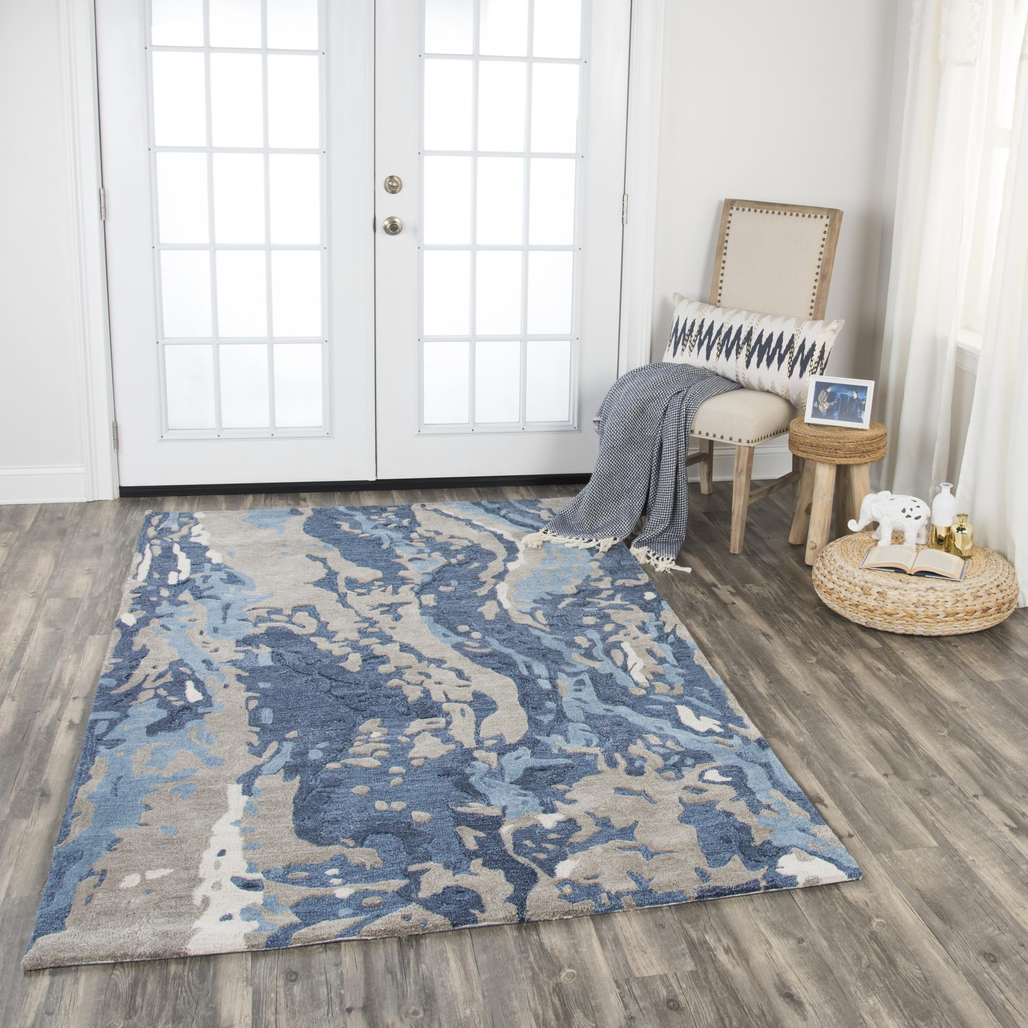 Rizzy Home MO867A Blue 10' x 13' Hand-Tufted Area Rug