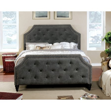 Classic Contemporary Button Tufted Eastern King Size Bed Dark Gray Bedroom  Furniture Nailhead Trim Bedframe Corner Cut Out Design