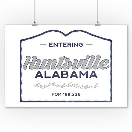 Huntsville Alabama Now Entering Blue Lantern Press Artwork 9x12 Art Print Wall Decor