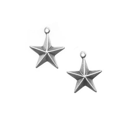 Antiqued Silver Plated Stamping Small Starburst Star Charms 15mm (2) - Small Charms