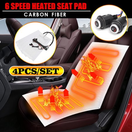 4Pcs 2 Seats 12V Universal Carbon Fiber Car Heater Heated Seat Pads with 6-Level Switch Kits For Car Truck (Automobile Seat Heater Kit)