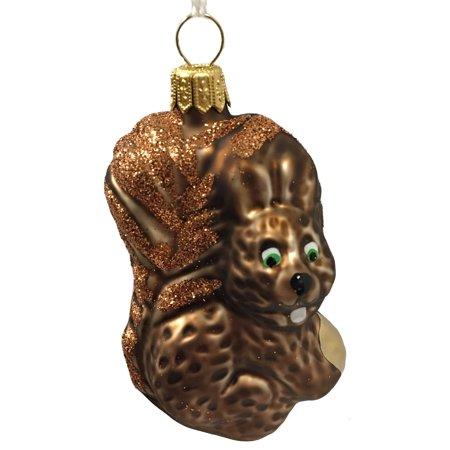 Squirrel with Nut Czech Glass Christmas Tree Ornament Wildlife Animal Decoration