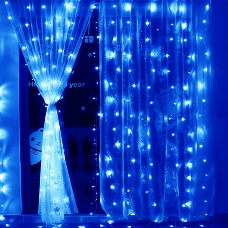 TORCHSTAR 9.8ft x 9.8ft LED Curtain Lights, String Lights for Decorations, Christmas, Holiday, 300 LEDs, (Holiday String Lights)