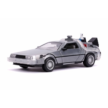 DeLorean Time Machine with lights - Flying Version, Back to the Future Part II - Jada 31468 - 1/24 Scale Diecast Model Toy Car Scale Diecast Battle Machines