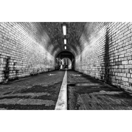 White line down the middle of a dirty worn pedestrian and cycling tunnel York Yorkshire England Canvas Art - John Short  Design Pics (19 x 12) - Dirty Halloween Pic