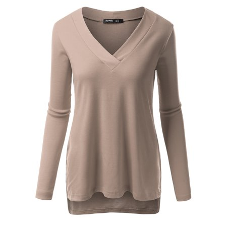 Slit Front Cotton Top - Thanth Womens Long Sleeve V-Neck T-Shirts Medium Weight Side Slit Top