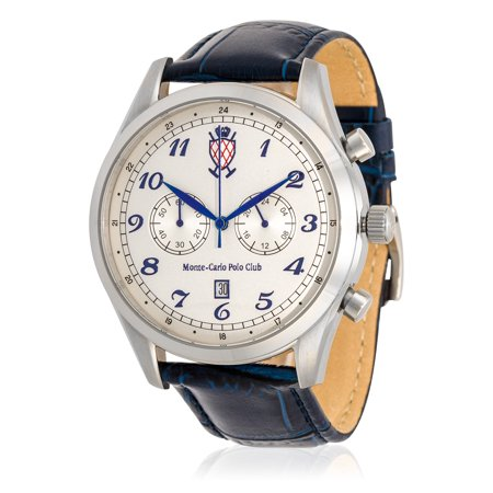 Monte-Carlo Polo Club Mens Classic Chronograph Watch with Silver Dial and Dark Blue Croco Leather Strap Dark Navy Blue Dial