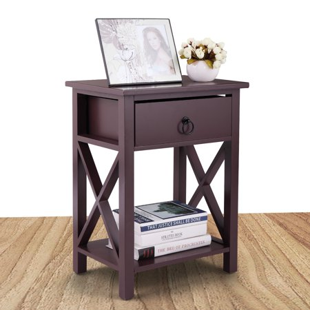 Jaxpety Side End Table Cross Style Narrow Chair Side Storage Living Room Brown Nightstand With One Drawer ()