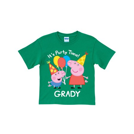 Personalized Peppa Pig And George Birthday Green Toddler Boys T Shirt