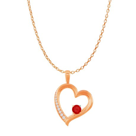 14k rose gold cz ruby open heart pendant free chain mozeypictures Image collections