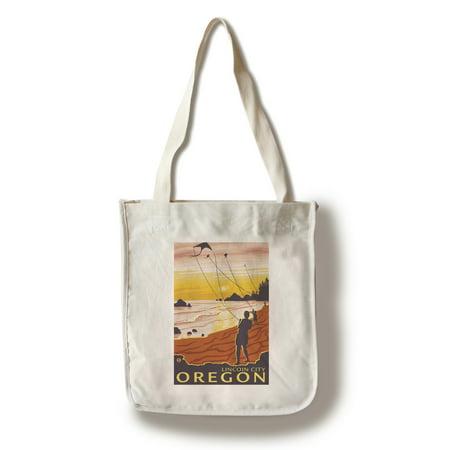 Beach & Kites - Lincoln City, Oregon - LP Original Poster (100% Cotton Tote Bag - Reusable)