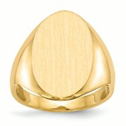 14K Yellow Gold 18 MM Oval Engravable Signet Ring, Size 5