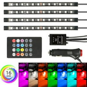 4-pack 12 LED Car Interior Atmosphere Neon Lights Strip Music Control+IR Remote