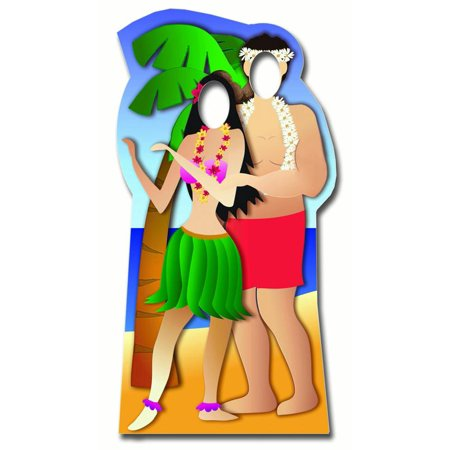 Star Cutouts Hawaiian Couple Stand-In Cardboard Cutout Life Size Standup - Hawaiian Photo Cutouts