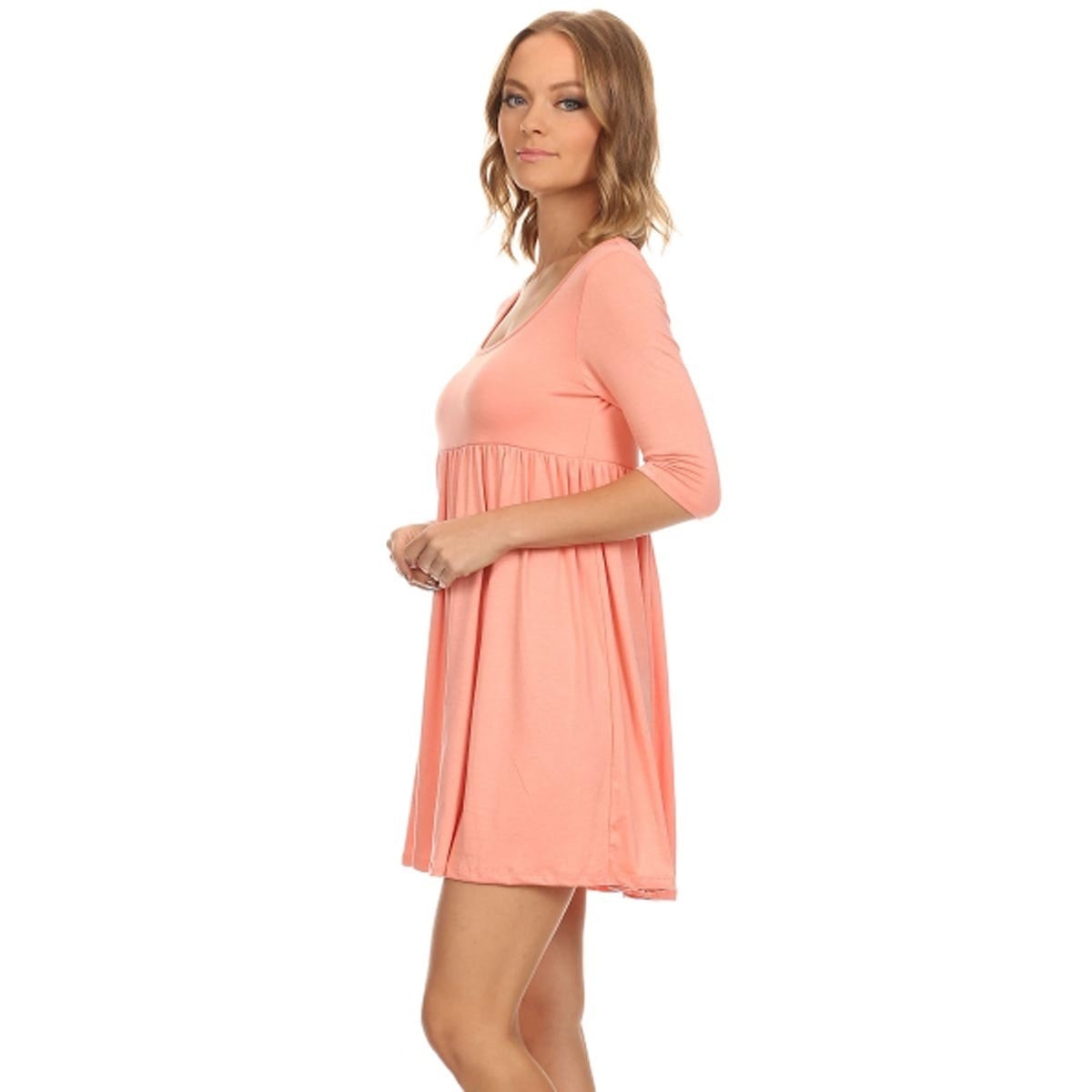 MOA Collection Solid Babydoll Dress Peach-Large