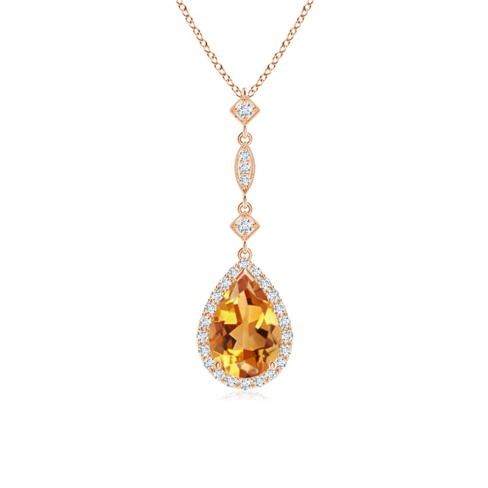 Mother's Day Jewelry Necklace 1.2 carat Pear Cut Prongs Set Citrine Pendant Necklace With Accent Diamonds in 14K Rose... by Angara.com