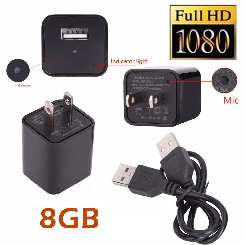 NEW 8GB Hidden Spy Camera Real USB AC Adapter Wall Plug Charger Camcorder DV Surveillance HD 1080P Hidden Spy Wall Camera Video Recorder Loop Record For Home Security Nanny Spy Camera