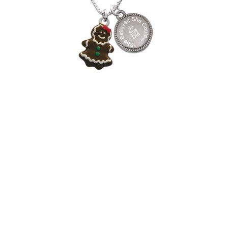 Enamel Gingerbread Girl She Believed She Could So She Did Engraved Necklace