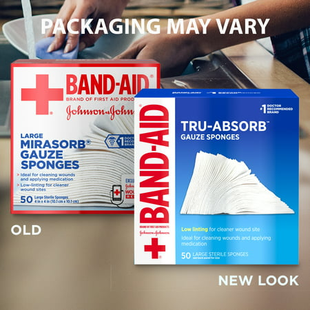 Band Aid Brand First Aid Tru-Absorb Gauze Sponges, 4 in x 4 in, 50 ct
