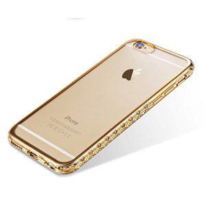 iPhone 6/ 6S Plus Case Premium Luxury Clear Slim Back Diamond Rhinestone Bumper Cover - Gold