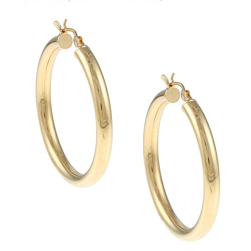 Sterling Essentials 14k Gold over Silver 4mm x 40mm Diameter Polished Hoop Earring