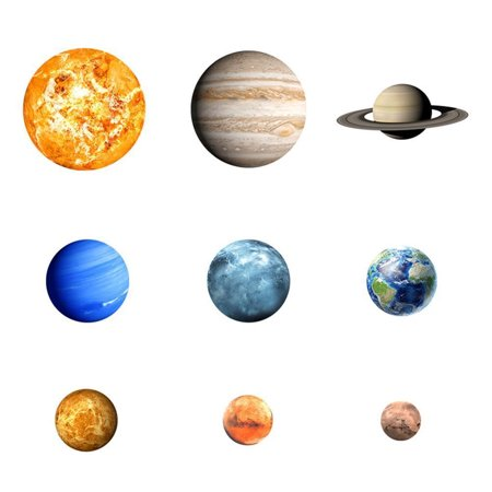 DZT1968 Glow In The Dark 30cm Round Planets Star PVC Stickers Kids Ceiling Wall Bedroom