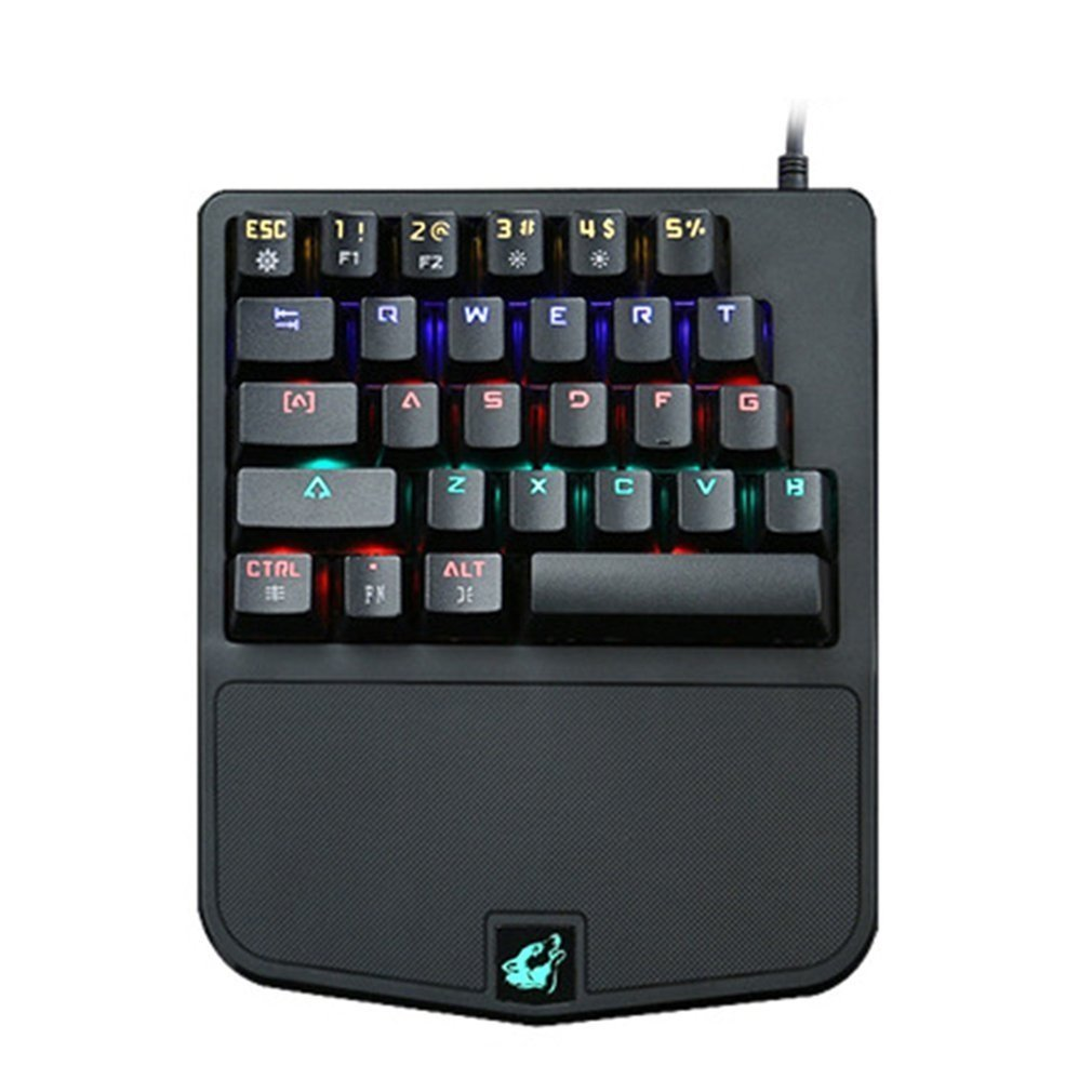 28 Keys Single-handedly One Hand Design Mechanical Keyboard USB Wired Keyboard For Esport Gaming Keyboard LED Backlight