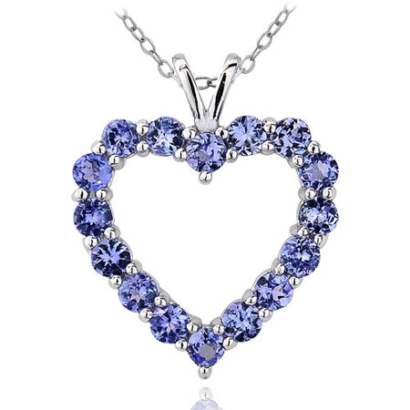 Ladies Tanzanite Pendant (1.9 Carat T.G.W. Tanzanite Sterling Silver Heart Pendant, 18