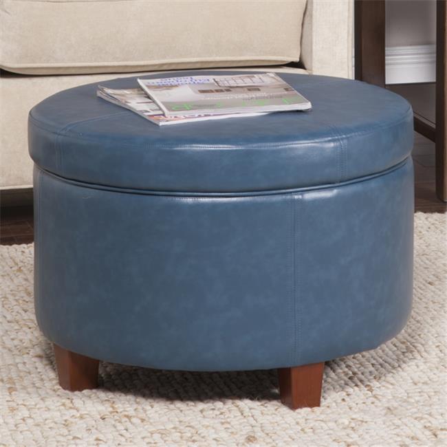 Kinfine USA K6862-E843 Large Leatherette Storage Ottoman - Blue