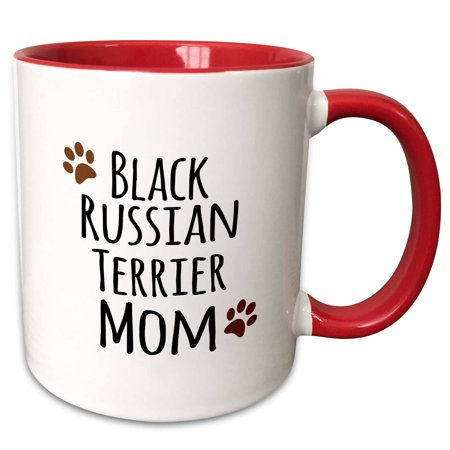 3dRose Black Russian Terrier Dog Mom - Doggie by breed - brown muddy paw print - doggy lover - pet owner - Two Tone Red Mug, - Black Russian Terrier Dogs
