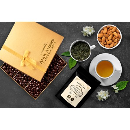 Andy Anand Vegan Dark Chocolate coated Roasted Almonds Gift Box 1lbs With Free Jasmine Tea 2oz, All-Natural Gourmet Christmas Holiday Corporate Food Gifts with Greeting Card, Anniversary, Birthday ()
