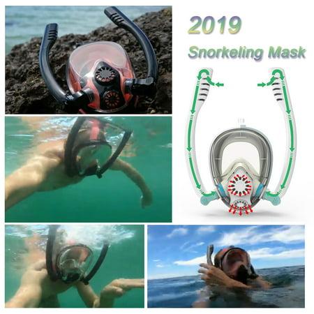 2019 New Design Double Snorkels Advanced Breathing System Diving Mask Mask  Underwater Anti Fog Full Face Snorkeling Mask Women Men Kids Swimming