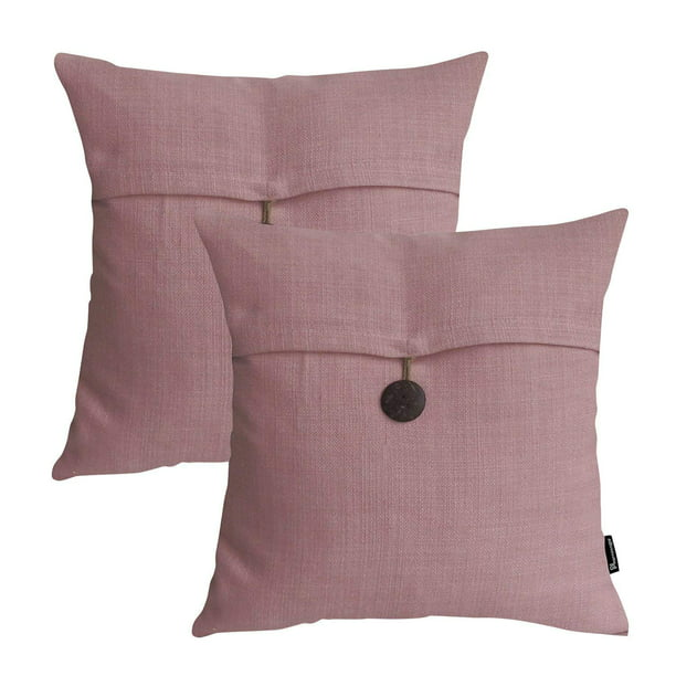 Phantoscope Farmhouse Button Series Outdoor Decorative Throw Pillow 18 X 18 Pink 2 Pack Walmart Com Walmart Com