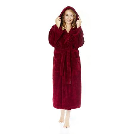 Women's Hooded Fleece Plush Robe Turkish Bathrobe](Hooded Robe)