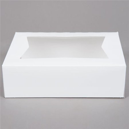 Quality Carton & Converting WW992 CPC 9 x 9 x 2.5 Auto Cake Box with Window, White - Case of 200 - Cake Box