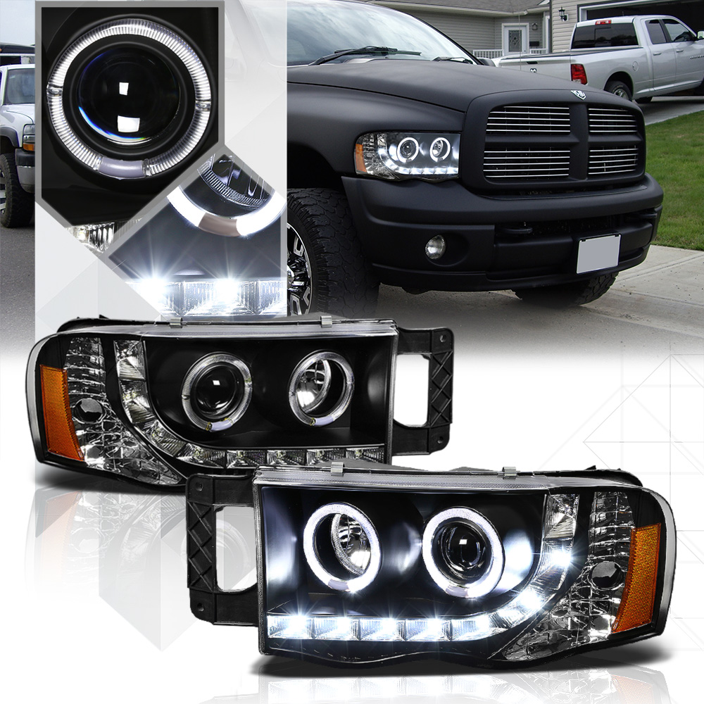Black Dual Halo Projector Headlight LED DRL Amber Signal for 02-05 Dodge Ram
