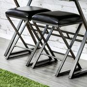 Furniture of America Milton Industrial Padded Bar Stools - Set of 2, Metallic Gray and Black