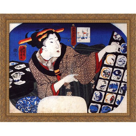 Woman selling decorative bowls 36x28 Large Gold Ornate Wood Framed Canvas Art by Utagawa