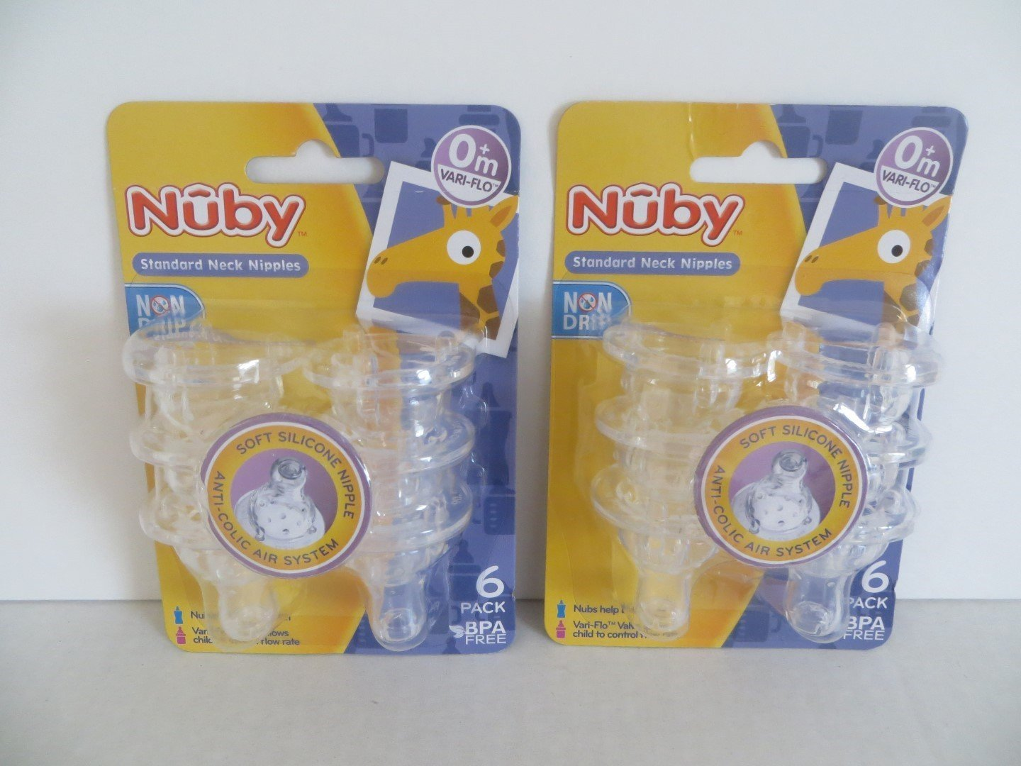 12 Non Drip Nipples 2 Sets of 6 Packs (12 Nipples) By Nuby Ship from US by Nuby