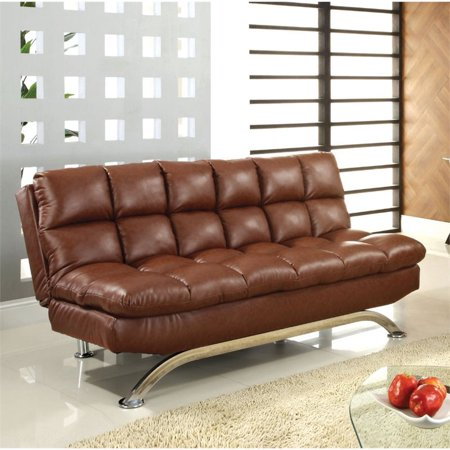 Furniture of America Moore Faux Leather Sofa Bed in Reddish Brown Brown Leather Sofa Beds