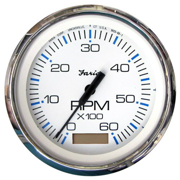 Faria 33832 Chesapeake Tachometer Gauge with Hourmeter Gas - White SS, 4""