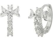 Lesa Michele Genuine Cubic Zirconia Cross Hinge Earrings in Sterling Silver